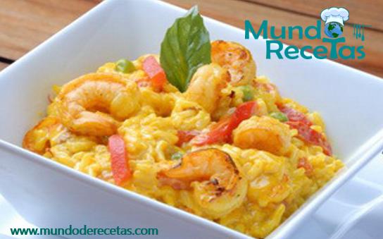 risotto con camarones